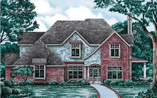 European House Plan 97409 with 4 Beds, 4 Baths, 2 Car Garage Elevation