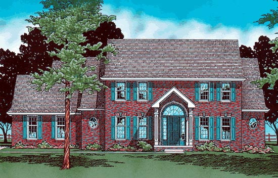Colonial House Plan 97412 with 4 Beds, 4 Baths, 3 Car Garage Elevation