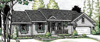 One-Story, Ranch House Plan 97416 with 3 Beds, 3 Baths, 2 Car Garage Elevation
