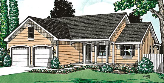 House Plan 97443 | Ranch Style Plan with 1433 Sq Ft, 3 Bedrooms, 2 Bathrooms, 2 Car Garage Elevation