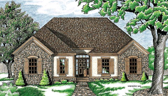 European House Plan 97444 Elevation