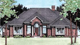 House Plan 97447 | Colonial European Style Plan with 2456 Sq Ft, 3 Bedrooms, 3 Bathrooms, 3 Car Garage Elevation