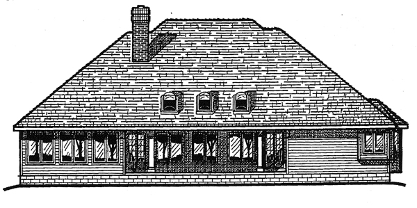 Colonial European House Plan 97447 Rear Elevation