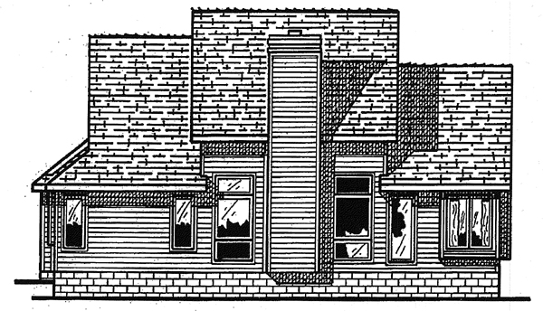 Country Rear Elevation of Plan 97448