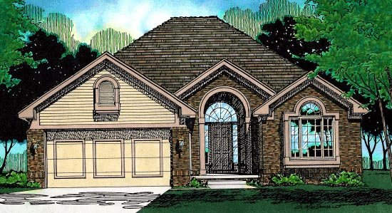 House Plan 97455 | European Style Plan with 1636 Sq Ft, 3 Bedrooms, 2 Bathrooms, 2 Car Garage Elevation
