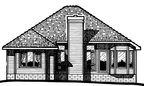 House Plan 97455 | European Style Plan with 1636 Sq Ft, 3 Bedrooms, 2 Bathrooms, 2 Car Garage Rear Elevation