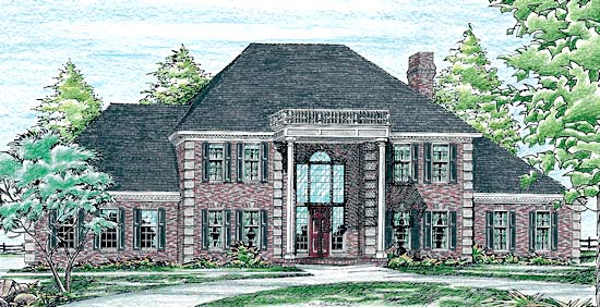 Colonial House Plan 97459 with 4 Beds, 4 Baths, 3 Car Garage Elevation
