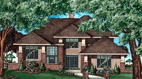 Southwest , Prairie Style , Contemporary House Plan 97487 with 4 Beds, 3 Baths, 2 Car Garage Elevation