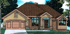House Plan 97489 | European Style Plan with 1595 Sq Ft, 3 Bedrooms, 3 Bathrooms, 2 Car Garage Elevation