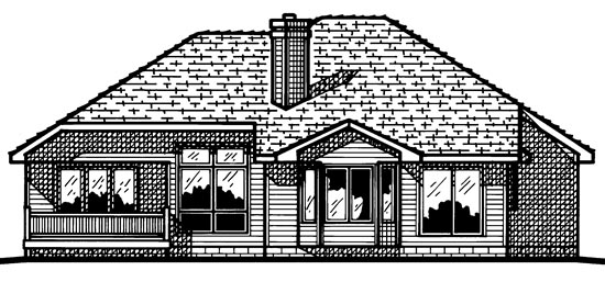 House Plan 97489 | European Style Plan with 1595 Sq Ft, 3 Bedrooms, 3 Bathrooms, 2 Car Garage Rear Elevation
