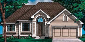 House Plan 97493 | European Style House Plan with 1422 Sq Ft, 3 Bed, 2 Bath, 2 Car Garage Elevation