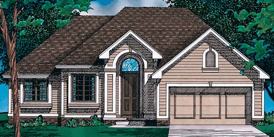 European, One-Story House Plan 97493 with 3 Beds, 2 Baths, 2 Car Garage Elevation