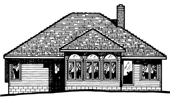 European House Plan 97497 Rear Elevation