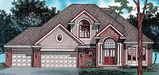 European House Plan 97498 with 4 Beds, 4 Baths, 3 Car Garage Elevation