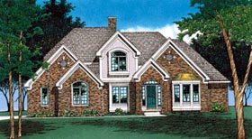 House Plan 97499 | European Tudor Style Plan with 2645 Sq Ft, 4 Bedrooms, 3 Bathrooms, 3 Car Garage Elevation