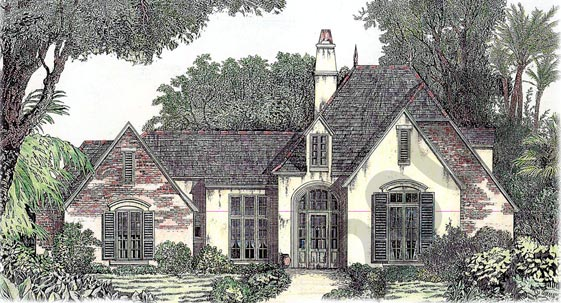 European House Plan 97508 with 4 Beds, 3 Baths, 2 Car Garage Elevation