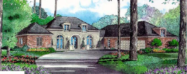 European , One-Story , Elevation of Plan 97511