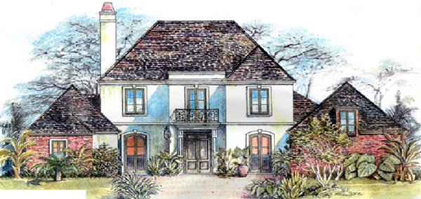 European House Plan 97519 with 4 Beds, 4 Baths, 2 Car Garage Elevation