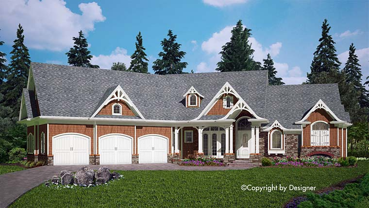 House Plan 97604 | Cottage, Country, Craftsman, Southern Style House Plan with 2621 Sq Ft, 3 Bed, 3 Bath, 3 Car Garage Elevation