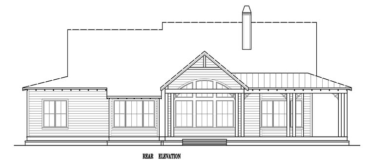 Country, Southern, Traditional, House Plan 97606 with 3 Beds, 3 Baths, 2 Car Garage Rear Elevation