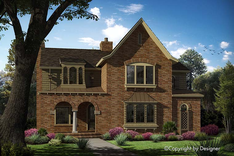 House Plan 97621 | European, Tudor Style House Plan with 3286 Sq Ft, 4 Bed, 4 Bath, 2 Car Garage Elevation
