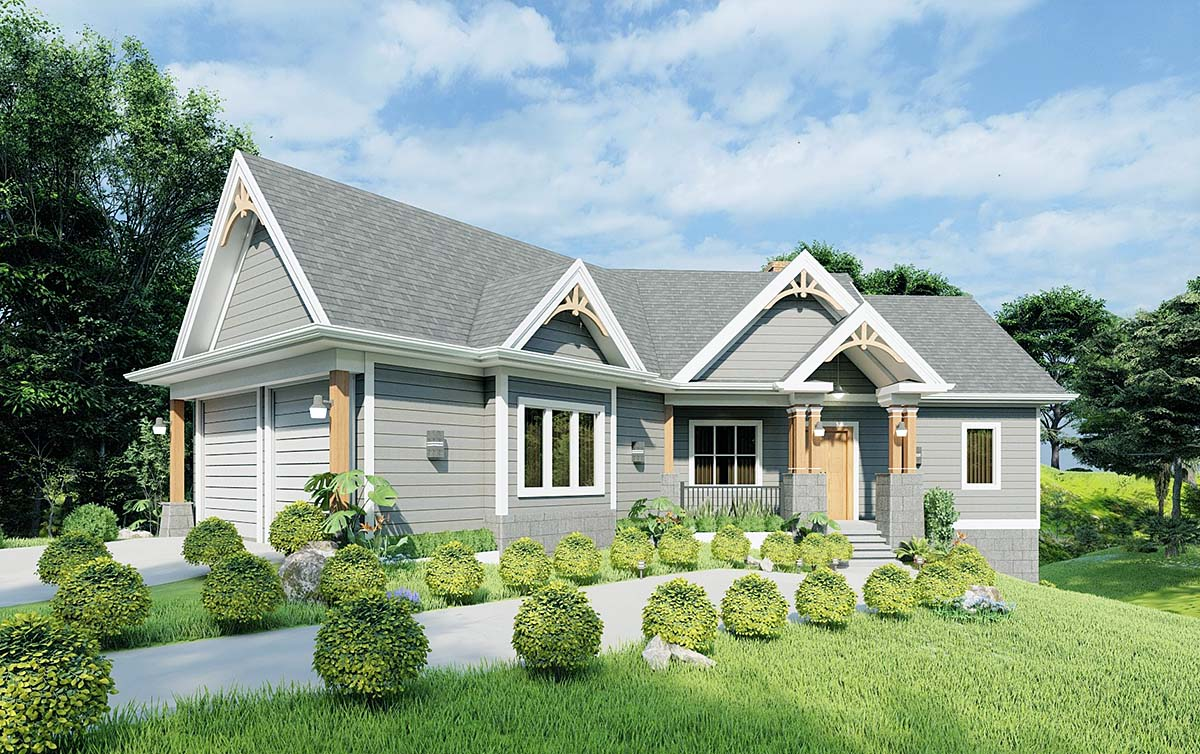 Cottage, Country, Craftsman, Southern, Traditional House Plan 97624 with 3 Beds, 2 Baths, 2 Car Garage Elevation