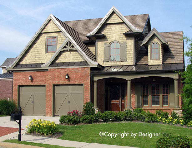 Country Craftsman Southern Traditional Tudor Elevation of Plan 97629