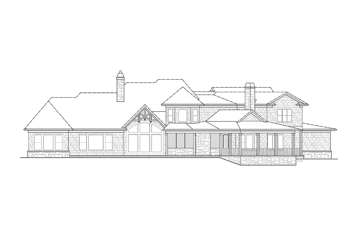 Craftsman Rear Elevation of Plan 97636