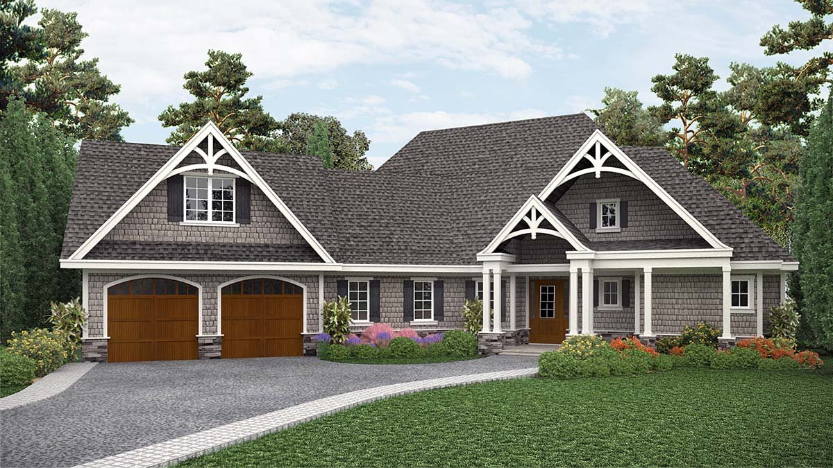 Country Craftsman Ranch Elevation of Plan 97639