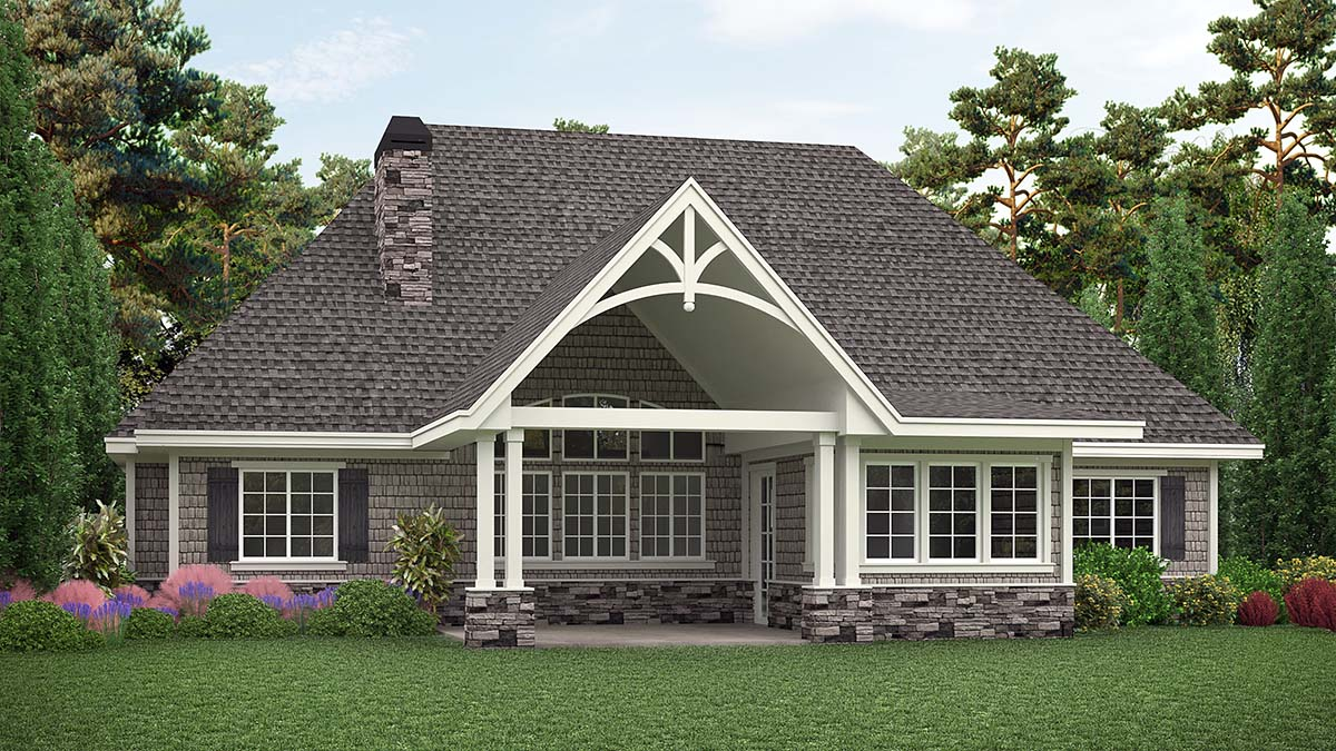 Country Craftsman Ranch Rear Elevation of Plan 97639