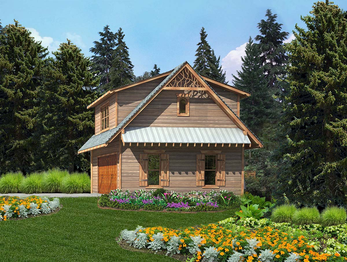 Cabin, Cottage, Craftsman 2 Car Garage Apartment Plan 97643 with 1 Beds , 1 Baths Elevation