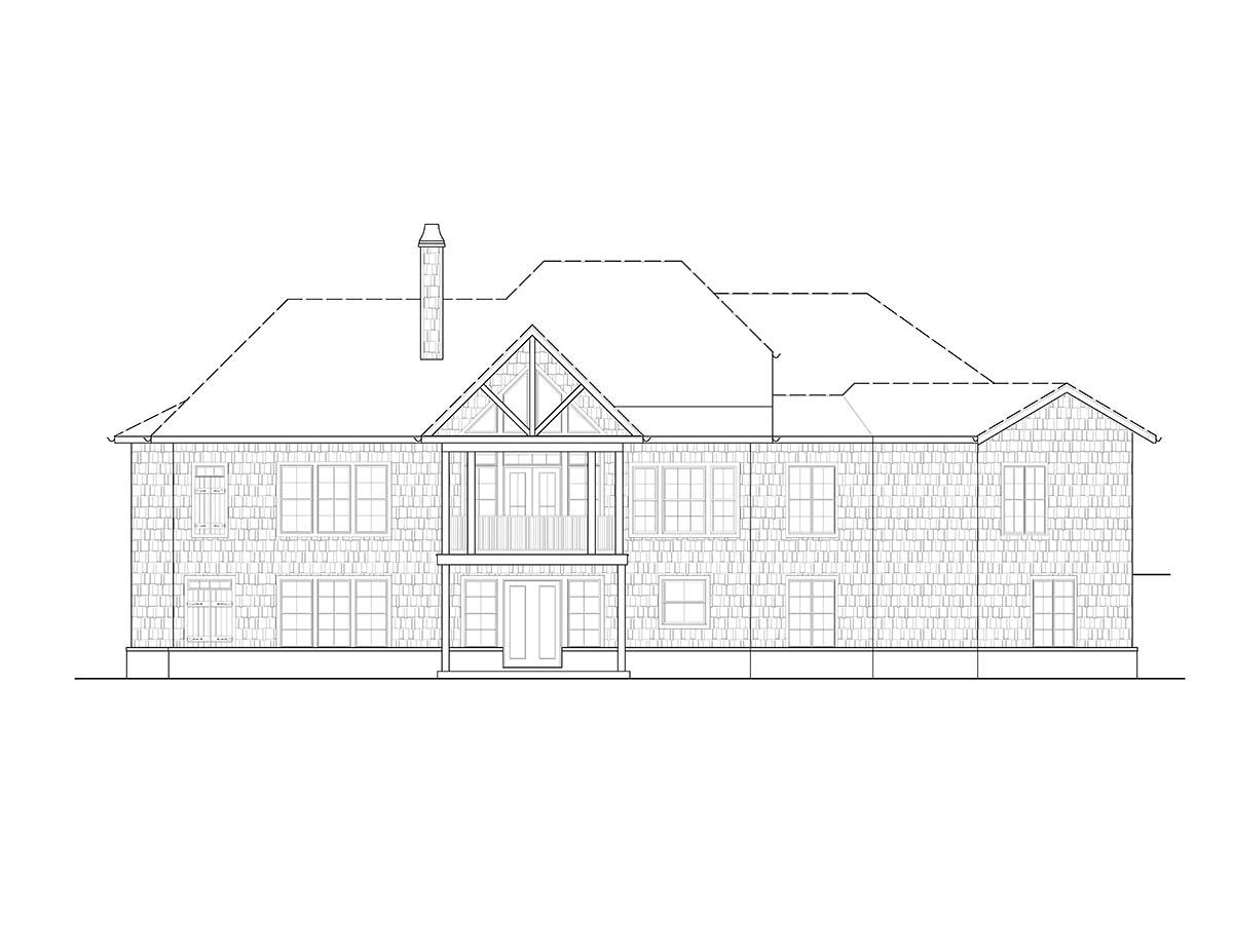 Coastal, Cottage, Craftsman House Plan 97645 with 3 Beds, 3 Baths, 2 Car Garage Rear Elevation