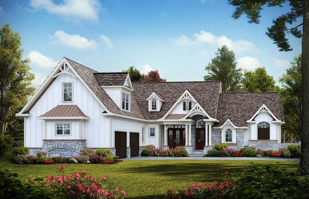 Country, Craftsman House Plan 97646 with 3 Beds , 4 Baths , 2 Car Garage Elevation