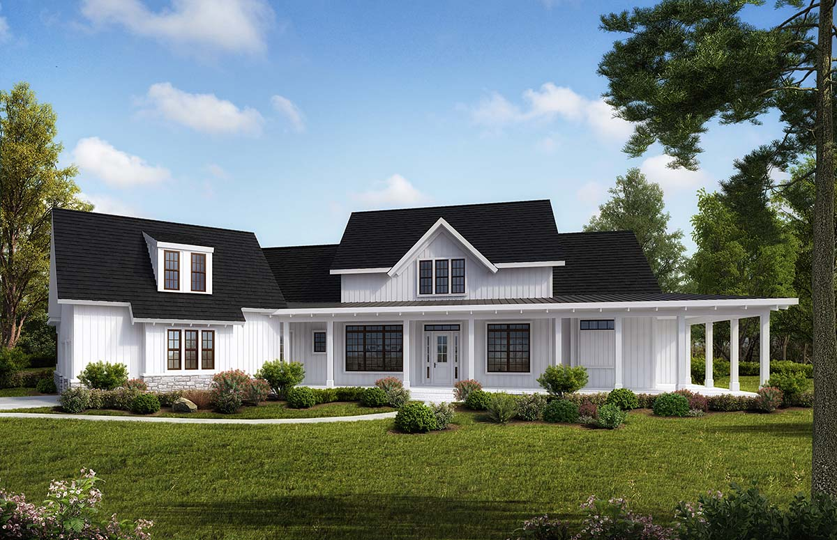 Country, Modern Farmhouse, Traditional House Plan 97648 with 4 Beds , 4 Baths , 2 Car Garage Elevation