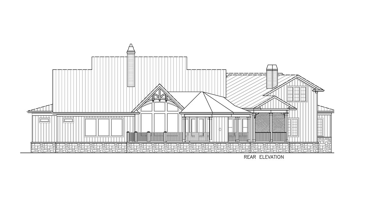 Country, Craftsman, Modern Farmhouse House Plan 97650 with 3 Beds , 3 Baths , 2 Car Garage Rear Elevation