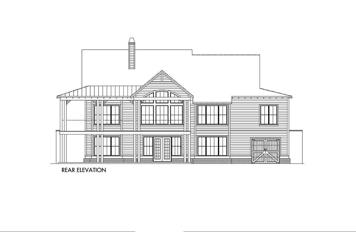 Country, Farmhouse, Southern House Plan 97661 with 3 Beds , 3 Baths , 2 Car Garage Rear Elevation