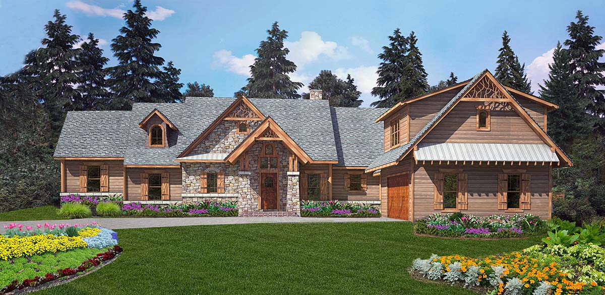 Craftsman, One-Story, Tuscan House Plan 97668 with 4 Beds , 4 Baths , 2 Car Garage Elevation