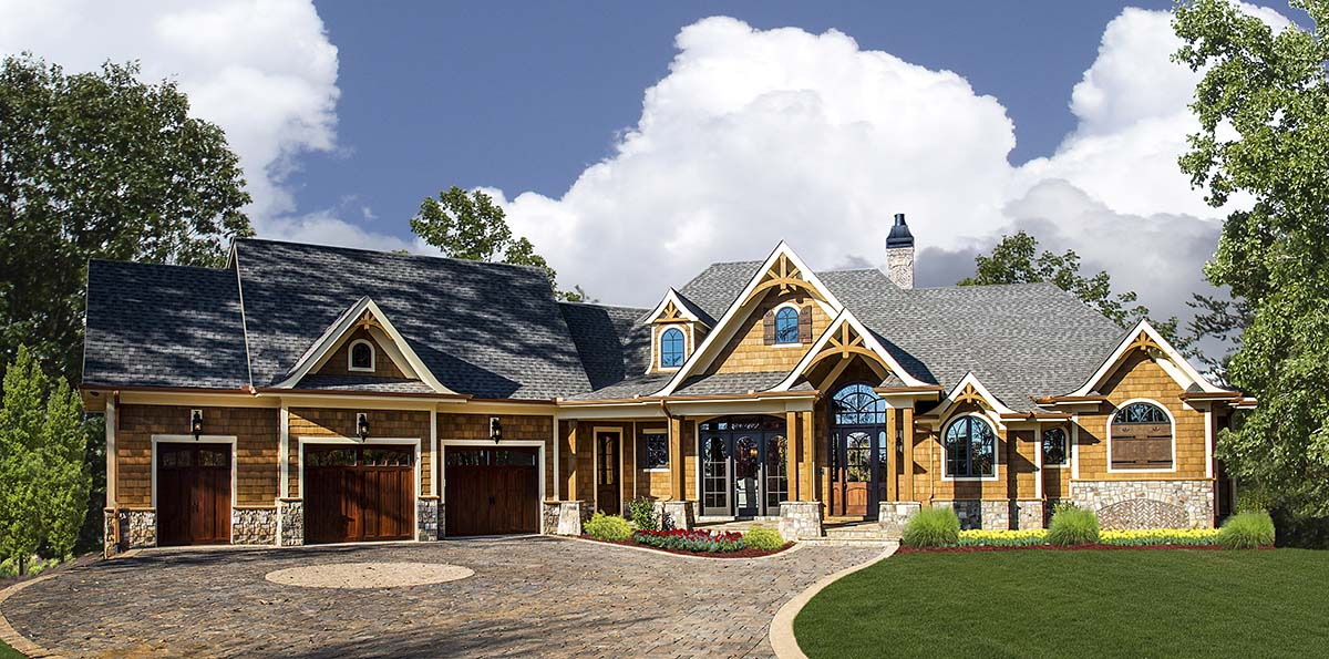Cottage, Craftsman House Plan 97673 with 5 Beds, 6 Baths, 3 Car Garage Elevation