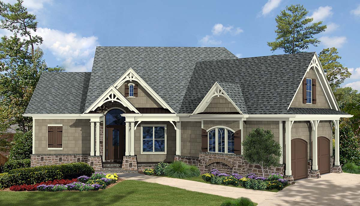 Craftsman, One-Story, Ranch House Plan 97675 with 3 Beds, 2 Baths, 2 Car Garage Elevation
