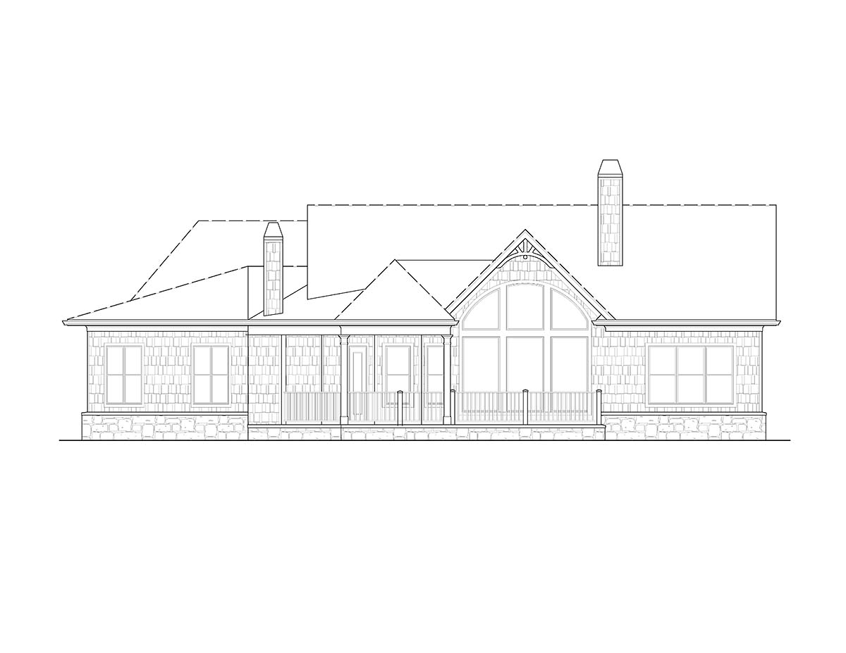 Craftsman, One-Story, Ranch House Plan 97675 with 3 Beds , 2 Baths , 2 Car Garage Rear Elevation