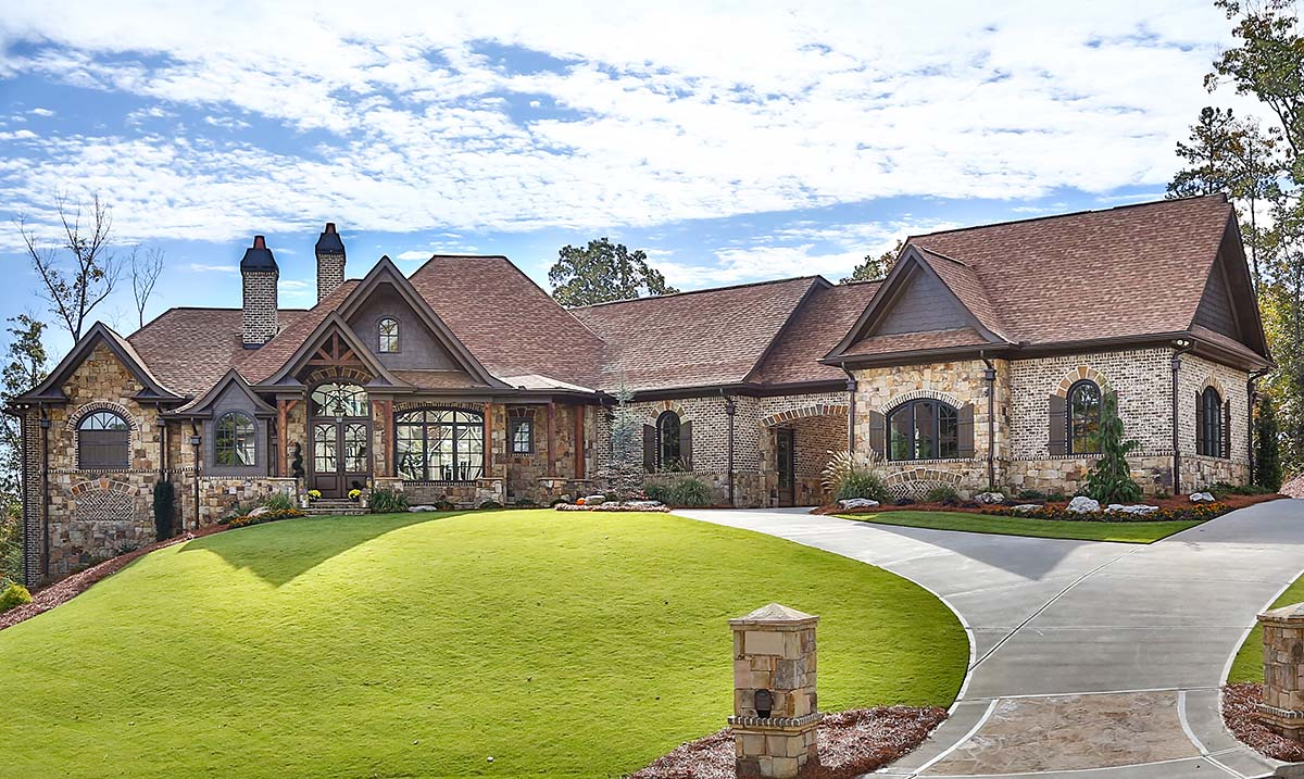 Craftsman, Ranch, Tuscan House Plan 97680 with 3 Beds, 4 Baths, 3 Car Garage Front Elevation