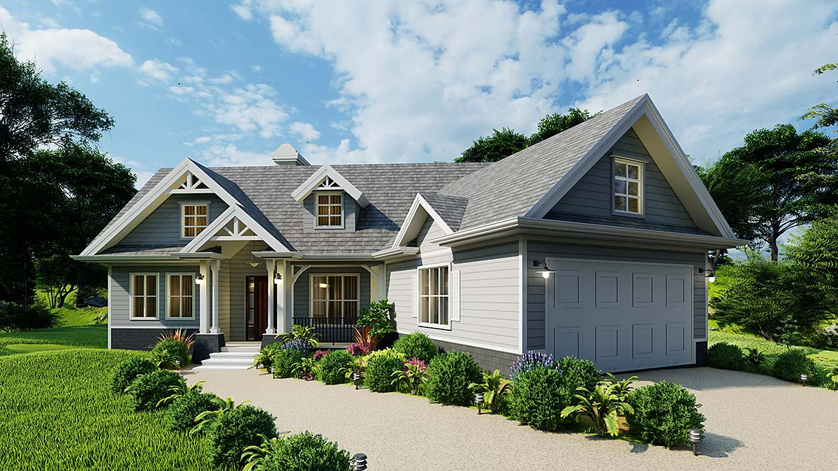 Cottage, Craftsman, One-Story House Plan 97683 with 3 Beds , 2 Baths , 2 Car Garage Elevation