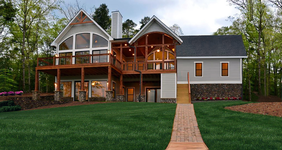 Craftsman, One-Story, Ranch, Traditional House Plan 97687 with 3 Beds, 3 Baths, 2 Car Garage Rear Elevation