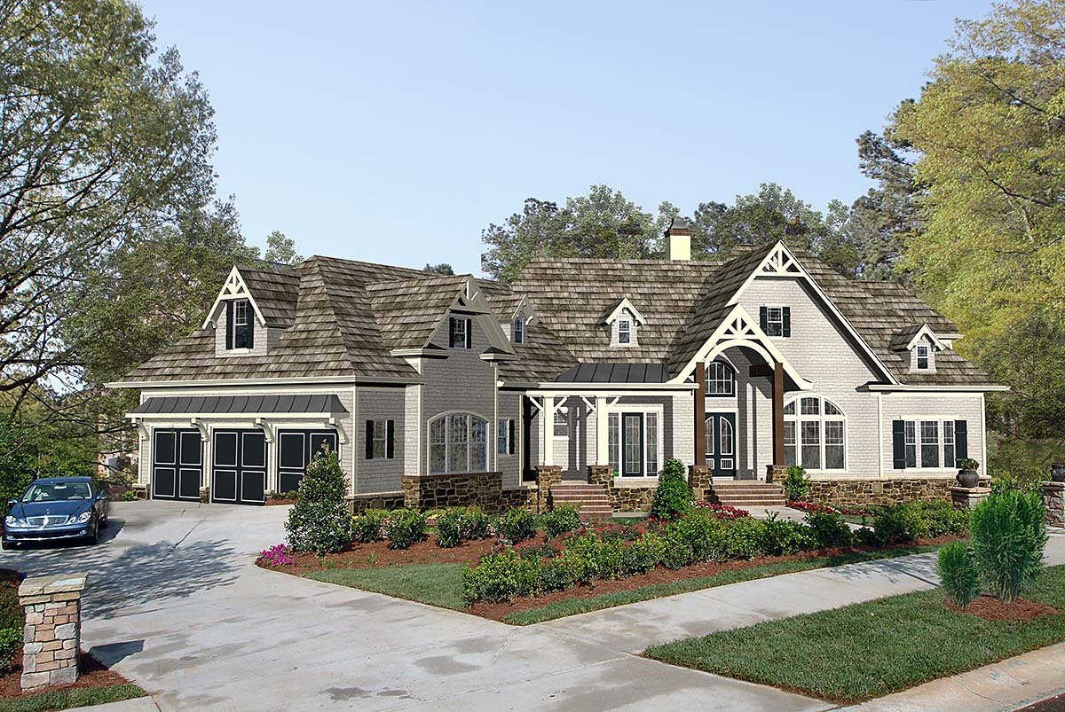 Craftsman, One-Story, Ranch House Plan 97689 with 4 Beds , 4 Baths , 3 Car Garage Elevation