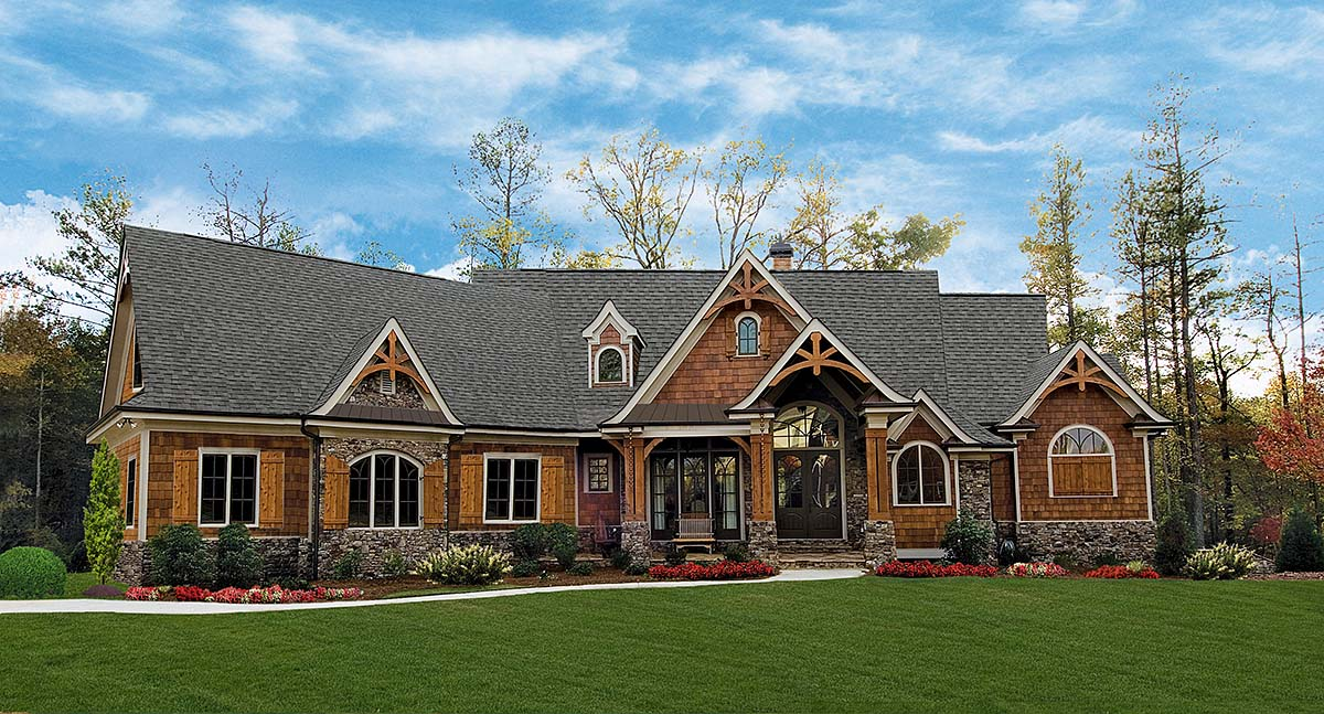 Craftsman, Ranch House Plan 97690 with 3 Beds , 3 Baths , 2 Car Garage Elevation