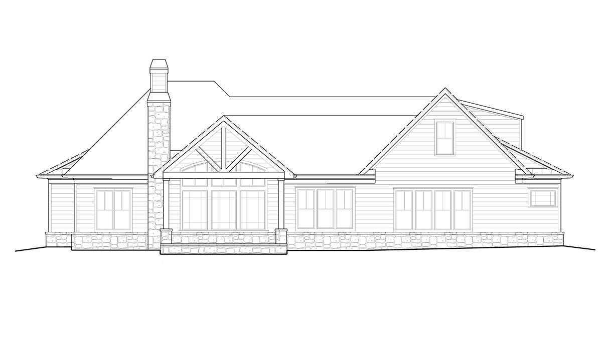 Craftsman, Farmhouse, Ranch House Plan 97694 with 4 Beds, 4 Baths, 2 Car Garage Rear Elevation