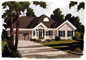 House Plan 97701 | Colonial European Style Plan with 1980 Sq Ft, 3 Bedrooms, 2 Bathrooms, 2 Car Garage Elevation