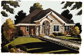 House Plan 97706 | Bungalow European Style Plan with 1797 Sq Ft, 3 Bedrooms, 2 Bathrooms, 2 Car Garage Elevation