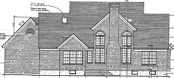 Cape Cod Country Rear Elevation of Plan 97709