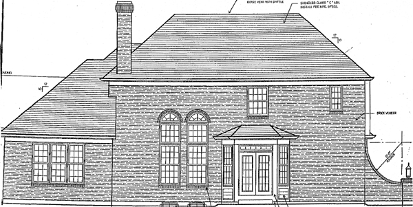 Traditional , Rear Elevation of Plan 97715